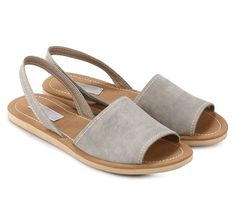 Grey Sandals by Proudly Shoes. Suede sandals with grey color, wide strap, sling back, rubber sole. Cute sandals that still on the trend, saldal with simple cut and grey color brown sole, with white stitched style. http://zocko.it/LDygI