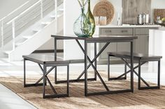 This contemporary set is clean lined & beautiful. The metal base has a dark bronze powdercoat finish.