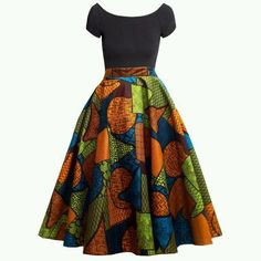 Chidera African Print Midi Circle Skirt (Orange/Green/Blue) Source by sofiastrommer African Fashion Ankara, African Inspired Fashion, African Print Fashion, Africa Fashion, Ghanaian Fashion, African Dashiki, African Print Skirt, African Print Dresses, African Fabric