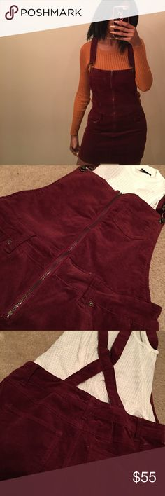🌹Burgundy corduroy overall dress 🌹 I'm crying as I write this 😩 • adorable corduroy burgundy overall dress ! Size small but can def fit a medium • comes to mid thigh so you can wear long socks or tights underneath ! • has hooks on the front and crossed in the back • has 5 pockets , 3 in front and 2 in back 🌹• functioning zipper in the front • the straps are also adjustable ! • overalls corduroy velvet aesthetic Brandy Melville Kylie Aldo ASOS Missguided topshop zara Urban Outfitters…