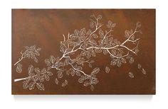 Falling birch tree - metal lightbox