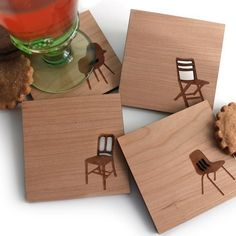Items similar to Mid century modern coasters, set of 4 Wood Coasters - Chair Silhouettes modern drink coasters, cocktail gifts, hostess gifts, barware on Etsy Modern Coasters, Cool Coasters, Drink Coasters, Cocktail Gifts, Fancy Drinks, Great Housewarming Gifts, Wooden Decor, Take A Seat, Modern Chairs