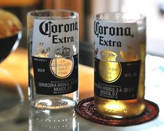 Handcrafted Juice Beer Drinking glasses Upcycled from Corona Bottles - Good Christmas idea for this year :) Juice Bottles, Liquor Bottles, Cut Bottles, Mexican Beer, Mexican Party, Corona Bottle, Corona Extra, Bottle Cutting, Wine Stoppers