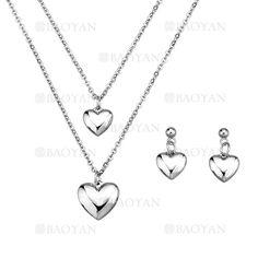 juego collar y pendientes de corazon plateado en acero inoxidable para mujer -SSNEG183966