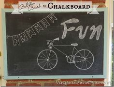 I would never have thought this was possible--she painted right over the cork! Bulletin Board to Chalkboard by Sweet Pea