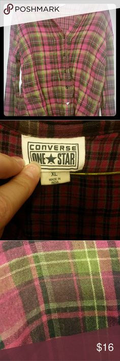 Pink boyfriend plaid Pink plaid, soft fabric, boyfriend style plaid shirt. Tag says XL, however, this will not fasten over large boobs At all!!!    I consider all offers just don't low ball me!   *Comes from a pet friendly, non-smoking home  *I am 5'10, roughly 210-220, Size 12/14 top, size 14 bottoms, with a 40-42 F cup bra.   I will do my best to indicate if an item runs small or large, but this is based on MY measurements not yours. I am NOT responsible for the fit of this item, all sizes…
