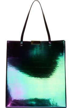 Stella Mccartney: Purple & Green Faux-Leather Oleo Prisma Tote