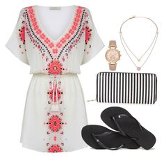 """""""Hot summer sun"""" by madison-ashley-0203 ❤ liked on Polyvore featuring Oasis, Havaianas, New Look and Michael Kors"""