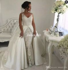 Two in One Lace Wedding Dresses with Detachable Skirts White Satin Sleeveless 2017 Vintage Garden Wedding Gowns Formal Bride Dress Plus Size Wedding Dresses Cheap Vestidos De Novia Online with $195.0/Piece on Sweet-life's Store | DHgate.com