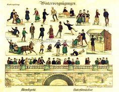 Vinterleker, stå opp bilde - motiv fra 1861 - Steinssons victorian die cut scraps