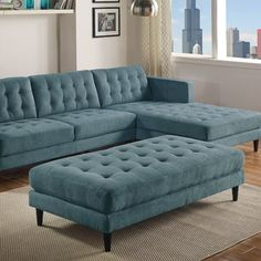 Ivy Bronx This Cocktail Ottoman fuses a mid-century style with a classic design. With button-tufted details and plush seating, these pieces will be sure to add luxury, style, and sophistication to any living room setting. Corner Sofa Design, Living Room Sofa Design, Home Room Design, Bed Design, Living Room Designs, Living Room Sofa Sets, Ottoman Design, Living Room Seating, Sofa Set Designs
