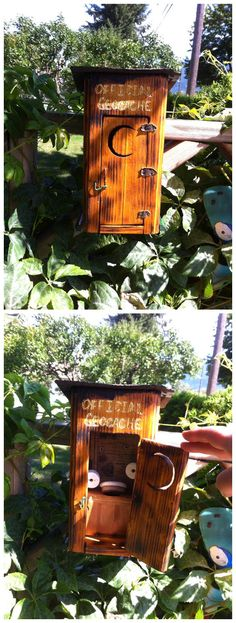 A unique puzzle cache.  It's nice when hiders go the extra mile with their creations.  (pics from Twitter stitched together by I.B. Geocaching & pinned to Creative Geocache Containers - pinterest.com/islandbuttons/creative-geocache-containers/)  #IBGCp