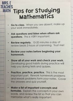 Math Study Tips for an Interactive Notebook