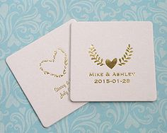 Personalized Rustic Themed Square Coasters | My Wedding Favors