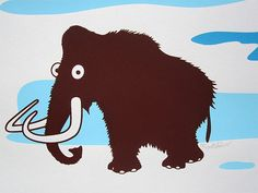 Woolly Mammoth Screen Printed Poster by dogfishmedia on Etsy, $25.00