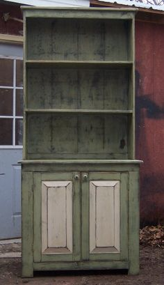 "Open Top Hutch will be a great addition to your country rustic or primitive decor.    Comes with two shelves and two doors with shelf inside.    Measures 84"" H x 36"" W x 20"" D"