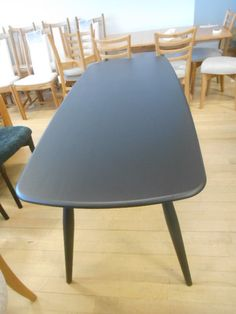 Ercol Chiltern Contract Table in solid Oak and Black 180cm x 75cm x h75