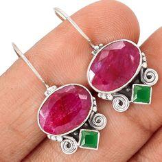 Indian-Ruby-925-Sterling-Silver-Earrings-Jewelry-SE111792