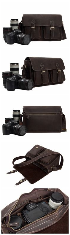Antique Genuine Leather Camera Bag Messenger Bag Shoulder Bag DSLR Camera Bag