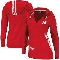 @Fanatics #FanaticsWishList - adidas Nebraska Cornhuskers Ladies Campus Intersect Hooded Long Sleeve T-Shirt - Scarlet