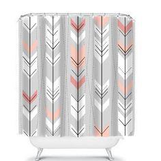 Tribal Pattern Shower Curtain Gray Peach Retro Arrow Design