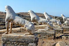 Terrace of the Lions. Delos Greece, Apollo And Artemis, Greece Travel, Islands, Terrace, Temple, Lion Sculpture, Museum, Culture