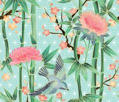 Bamboo, Birds and Blossoms on soft blue fabric by micklyn on Spoonflower - custom fabric