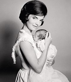 Jackie Kennedy with her newborn son, John F. Kennedy Jr. 1960... So sweet I just had to pin!