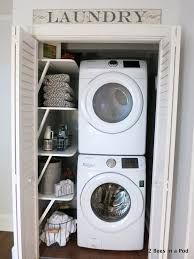 Image result for small stacked laundry room organization