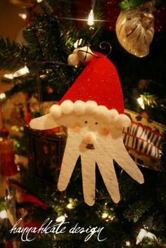 hand ornaments-this would be cute for our kids Christmas tree. (They each have their own tree in their own room)