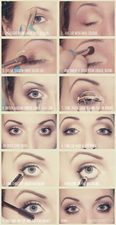 Step by Step eye make up made easy. Because I am make up stupid! Neutral Makeup, Love Makeup, Makeup Tips, Makeup Tutorials, Simple Makeup, Basic Makeup, Pretty Makeup, Neutral Eyeshadow, Easy Eyeshadow