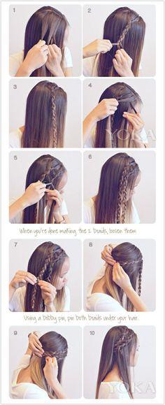 Simple braid hair style #braid #idea