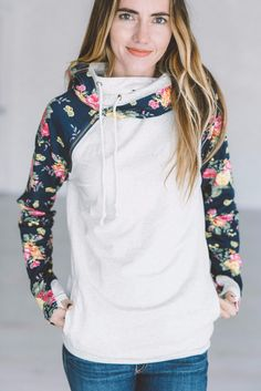 *Exclusive DoubleHood™ Sweatshirt - Navy Floral Accent
