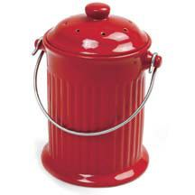 Red Ceramic Compost Keeper- Pretty enough to display on your countertop. Store peelings, eggshells, coffee grounds and vegetable scraps in these attractive, odor-eliminating, ceramic containers before transferring them to your composter or compost pile. The lid holds a charcoal filter to keep compost odorless for up to 6 months. 1 gallon capacity.