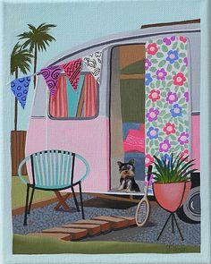 Mid Century Modern Eames Retro Limited Edition Print from Original Painting Pink Trailer Yorkie Mid Century Modern Art, Mid Century Art, Mid Century Design, Retro Kunst, Retro Art, Vintage Posters, Vintage Art, Vintage Travel, Pink Trailer