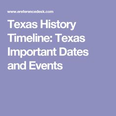 Texas History Timeline: Texas Important Dates and Events