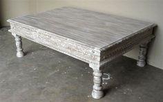 mesa centro palisandro pintada en blanco