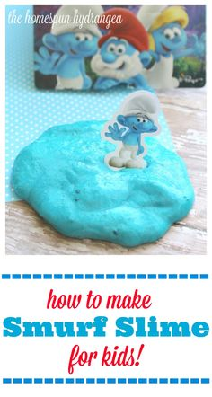 This easy Smurf Slime craft for kids is in celebration of #SmurfsMovie coming soon! #ad #RWM