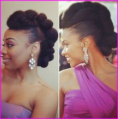 Top Natural Hair Tutorials :: Feb - Feb featuring RedCarpet-Ready Natural Hair Updo Inspired by Teyonah Parris! (Felicia Leatherwood) from MsVaughnTV's Protective Hairstyles For Natural Hair, Natural Afro Hairstyles, Natural Hair Updo, Short Hair Updo, Curly Hair Styles, Natural Hair Styles, Kid Hairstyles, Natural Hair Tutorials, Marley Hair