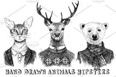 hand drawn animals hipsters by mart_m on @creativemarket