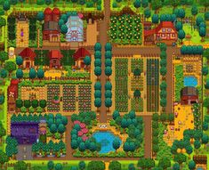 Share and discuss the farm designs you've created in Stardew Valley! Stardew Farms, Stardew Valley Farms, Stardew Valley Layout, Stardew Valley Tips, Valley Game, Stardew Valley Fanart, Farm Layout, Green House Design, Animal Crossing Villagers