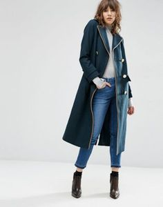 ASOS Coat In Wool Mix with Bomber Detail; long wool coat, longline ...