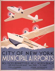 Vintage WPA Poster New York Airports on 8x10 PopMount Ready to Hang FREE SHIPPING. $32.00, via Etsy.