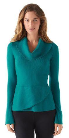#WHBM White House | Black Market Cowl Neck Peplum Sweater #EastwoodPinPals #EWTC