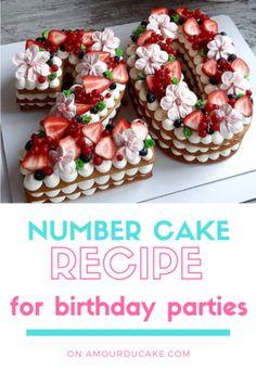 Recipe number cake easy to make - Amourducake Number Birthday Cakes, 20 Birthday Cake, Number Cakes, Girly Cakes, Fancy Cakes, Mini Cakes, Cupcake Cakes, Creative Cake Decorating, Birthday Cake Decorating