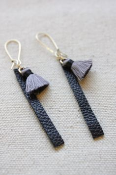 Leather Bar and Tassel Earrings Handmade Leather by Catilla