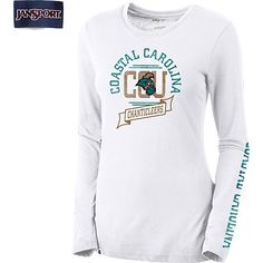Jansport® Coastal Carolina University Women's Long Sleeve T-Shirt in White available at the Chanticleer Store in HTC Center and Blstr.com
