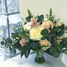 Katie's blush and ivory #bridalbouquet #weddingdetails #weddingflowers #bouquet #irishflorist #irishwedding #bloomsdayflowers