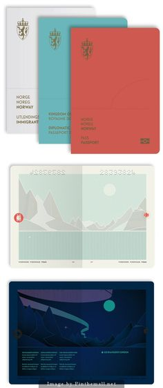 Norway New Passport design. Under UV light the page shows the northern lights!