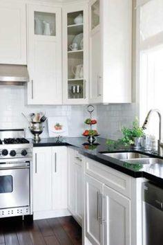 Kitchens Black Granite Countertops White Gl Front Cabinets Subway Tiles Hardware Laurel Ridge Homes Kitchen